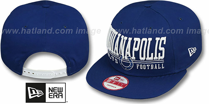 Colts 'NFL LATERAL SNAPBACK' Royal Hat by New Era : pictured without stickers that these products are shipped with