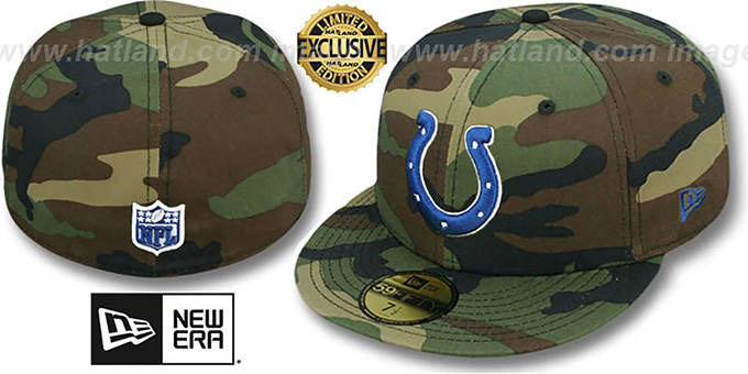 Colts 'NFL TEAM-BASIC' Army Camo Fitted Hat by New Era : pictured without stickers that these products are shipped with
