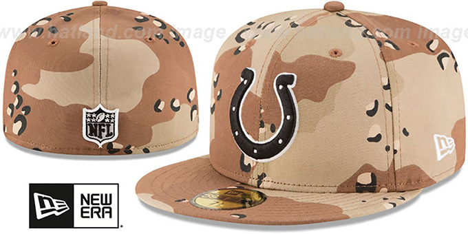 Colts 'NFL TEAM-BASIC' Desert Storm Camo Fitted Hat by New Era : pictured without stickers that these products are shipped with