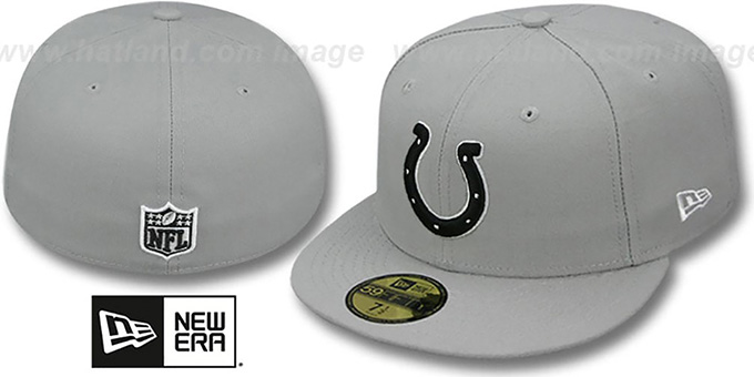 Colts 'NFL TEAM-BASIC' Grey-Black-White Fitted Hat by New Era : pictured without stickers that these products are shipped with