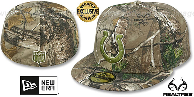 Colts 'NFL TEAM-BASIC' Realtree Camo Fitted Hat by New Era : pictured without stickers that these products are shipped with