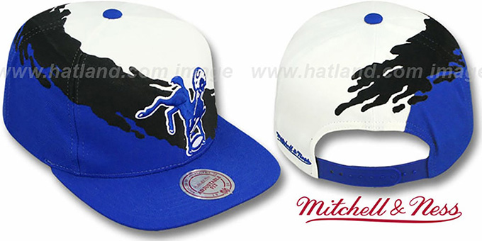 Colts 'PAINTBRUSH SNAPBACK' White-Black-Royal Hat by Mitchell & Ness : pictured without stickers that these products are shipped with