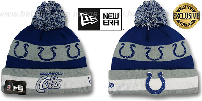 Colts 'REPEATER SCRIPT' Knit Beanie Hat by New Era : pictured without stickers that these products are shipped with