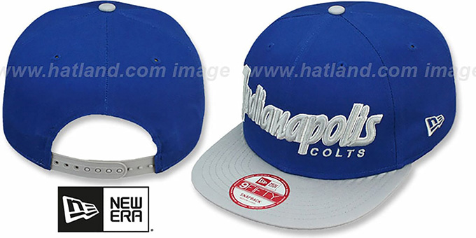 Colts 'SNAP-IT-BACK SNAPBACK' Royal-Grey Hat by New Era : pictured without stickers that these products are shipped with