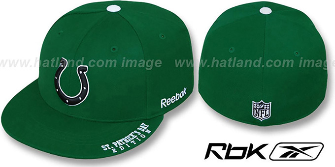 Colts 'St Patricks Day' Green Fitted Hat by Reebok : pictured without stickers that these products are shipped with