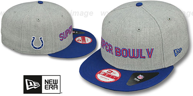 Colts 'SUPER BOWL V SNAPBACK' Grey-Royal Hat by New Era : pictured without stickers that these products are shipped with