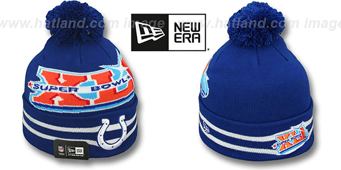 Colts 'SUPER BOWL XLI' Royal Knit Beanie Hat by New Era : pictured without stickers that these products are shipped with
