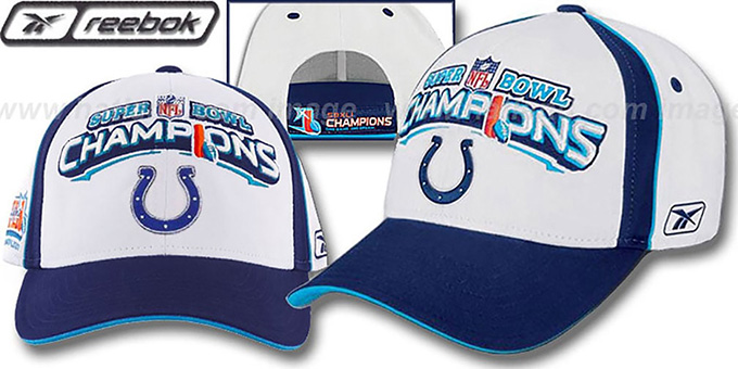 Colts  XLI 'SUPERBOWL CHAMPS' Hat by Reebok : pictured without stickers that these products are shipped with