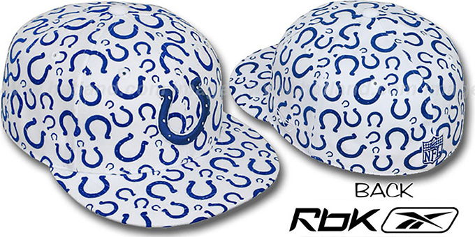 Colts 'TEAM-FLOCKING ALL-OVER' White Fitted Hat by Reebok : pictured without stickers that these products are shipped with