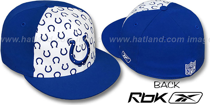 Colts 'TEAM-PRINT PINWHEEL' White-Royal Fitted Hat by Reebok : pictured without stickers that these products are shipped with