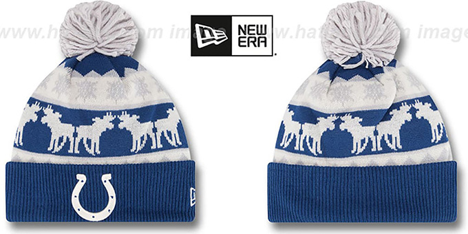 Colts 'THE-MOOSER' Knit Beanie Hat by New Era : pictured without stickers that these products are shipped with