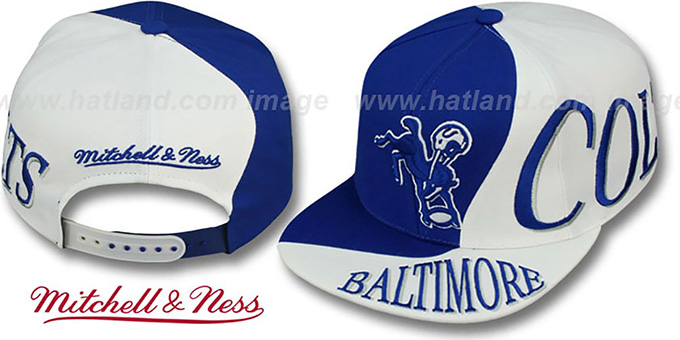 Colts 'THE SKEW SNAPBACK' Hat by Mitchell & Ness : pictured without stickers that these products are shipped with