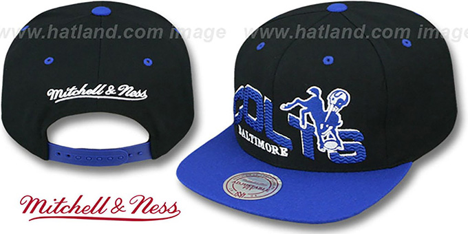 Colts 'THE-WAVE SNAPBACK' Black-Royal Hat by Mitchell and Ness : pictured without stickers that these products are shipped with