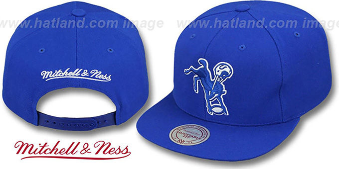 Colts 'THROWBACK-BASIC SNAPBACK' Royal Hat by Mitchell & Ness : pictured without stickers that these products are shipped with