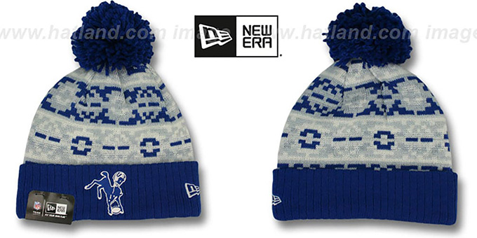 Colts 'THROWBACK RETRO CHILL' Knit Beanie Hat by New Era : pictured without stickers that these products are shipped with
