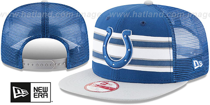 Colts 'THROWBACK-STRIPE SNAPBACK' Royal-Grey Hat by New Era : pictured without stickers that these products are shipped with