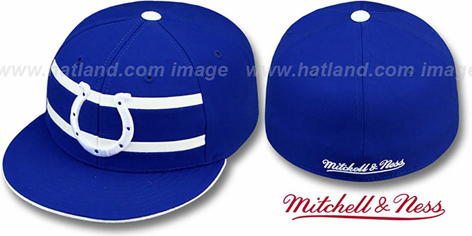 Colts 'THROWBACK TIMEOUT' - 1 Royal Fitted Hat by Mitchell & Ness : pictured without stickers that these products are shipped with