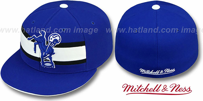 Colts 'THROWBACK TIMEOUT' - 2 Royal Fitted Hat by Mitchell & Ness : pictured without stickers that these products are shipped with
