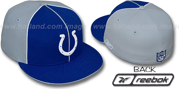 Colts 'TRI PIPING PINWHEEL' Royal Grey Fitted Hat by Reebok : pictured without stickers that these products are shipped with