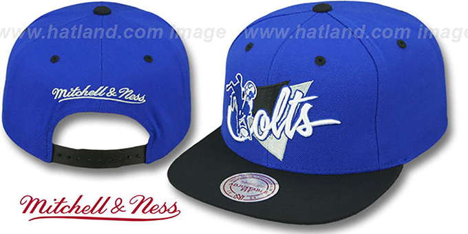 Colts 'TRIANGLE-SCRIPT SNAPBACK' Royal-Black Hat by Mitchell and Ness : pictured without stickers that these products are shipped with
