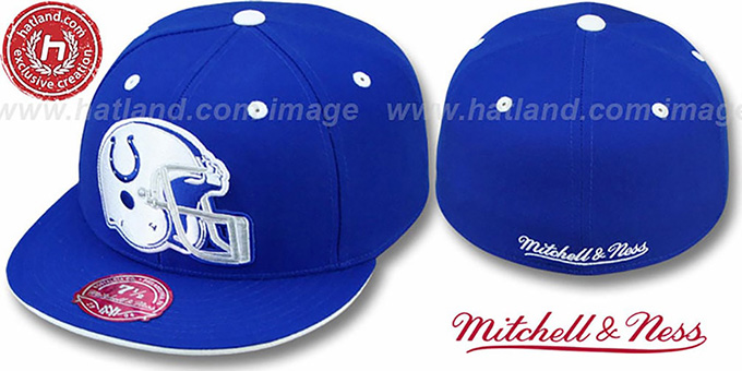 Colts 'XL-HELMET' Royal Fitted Hat by Mitchell & Ness : pictured without stickers that these products are shipped with