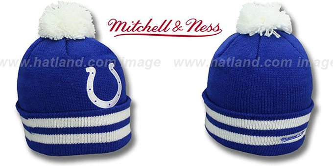 Colts 'XL-LOGO BEANIE' Royal by Mitchell and Ness : pictured without stickers that these products are shipped with