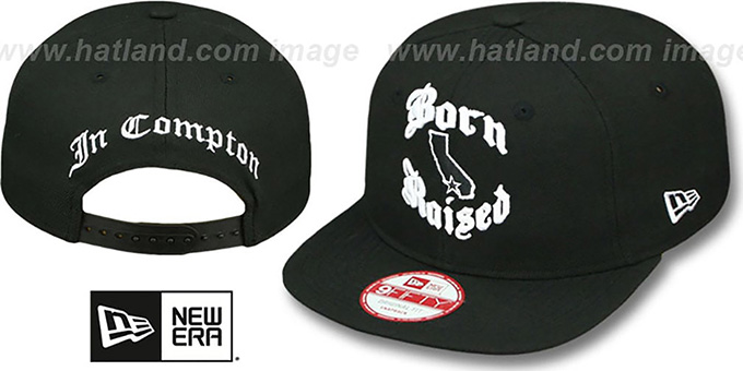 Compton 'BORN-N-RAISED SOCAL SNAPBACK' Black Hat by New Era : pictured without stickers that these products are shipped with