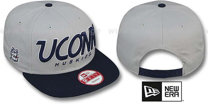 Connecticut 'SNAP-IT-BACK SNAPBACK' Grey-Navy Hat by New Era : pictured without stickers that these products are shipped with