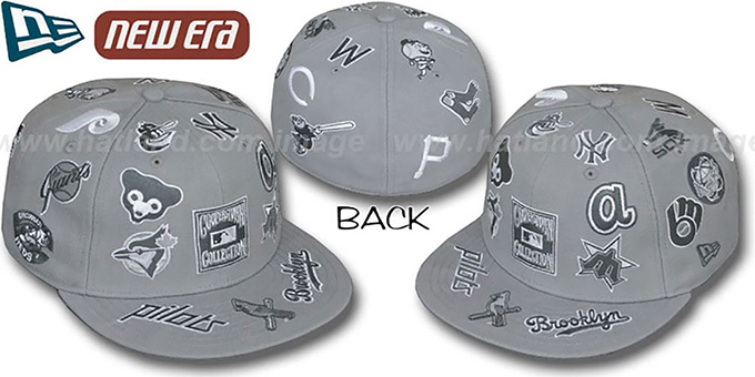 Cooperstown 'ALL-OVER' Grey Fitted Hat by New Era : pictured without stickers that these products are shipped with