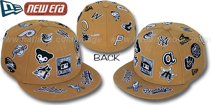 Cooperstown 'ALL-OVER' Wheat Fitted Hat by New Era : pictured without stickers that these products are shipped with