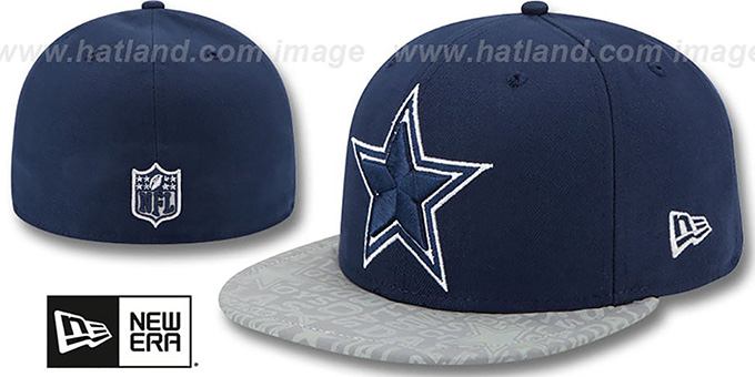 Cowboys '2014 NFL DRAFT' Navy Fitted Hat by New Era : pictured without stickers that these products are shipped with