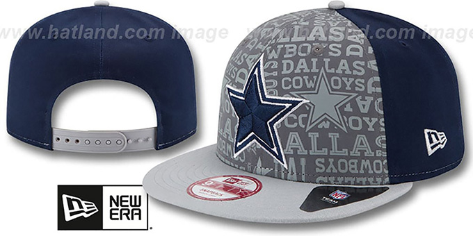 Cowboys '2014 NFL DRAFT SNAPBACK' Navy-Grey Hat by New Era : pictured without stickers that these products are shipped with