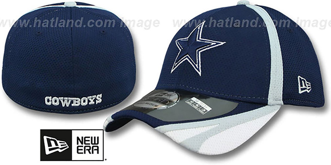 Cowboys '2014 NFL TRAINING FLEX' Navy Hat by New Era : pictured without stickers that these products are shipped with