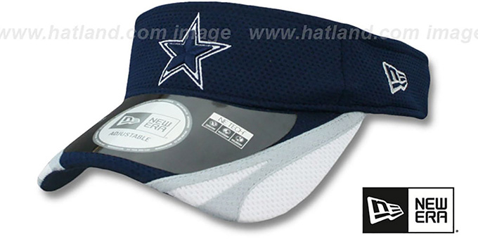 Cowboys '2014 NFL TRAINING' Navy Visor by New Era : pictured without stickers that these products are shipped with