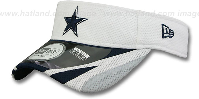 Cowboys '2014 NFL TRAINING' White Visor by New Era : pictured without stickers that these products are shipped with