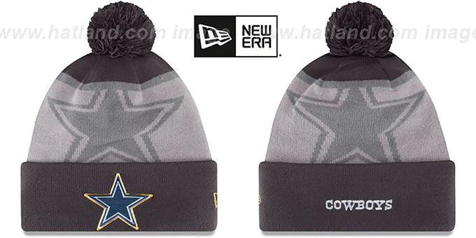 Cowboys '2015 GOLD COLLECTION' Grey-Grey Knit Beanie Hat by New Era : pictured without stickers that these products are shipped with