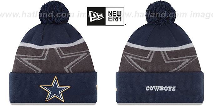 Cowboys '2015 GOLD COLLECTION' Navy-Grey Knit Beanie Hat by New Era : pictured without stickers that these products are shipped with