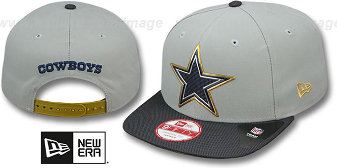 Cowboys '2015 GOLD COLLECTION SNAPBACK' Grey-Navy Hat by New Era : pictured without stickers that these products are shipped with