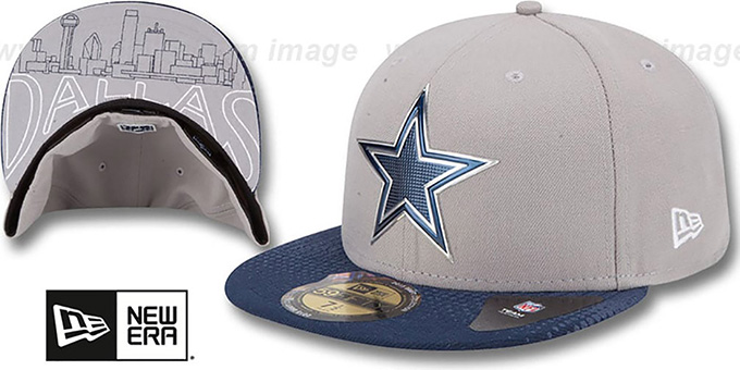 Cowboys '2015 NFL DRAFT' Grey-Navy Fitted Hat by New Era : pictured without stickers that these products are shipped with