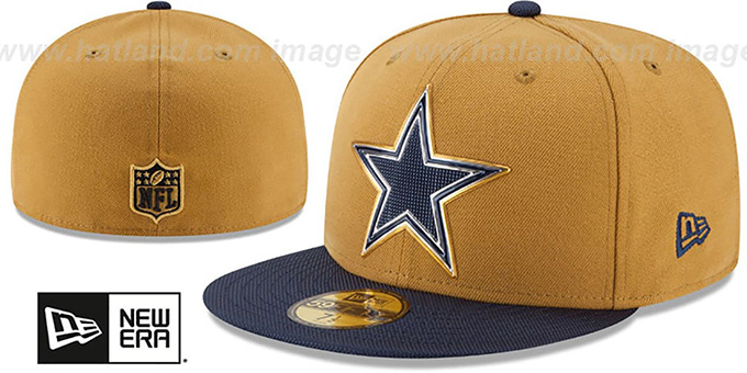 Cowboys '2015 NFL GOLD COLLECTION' Gold-Navy Fitted Hat by New Era : pictured without stickers that these products are shipped with
