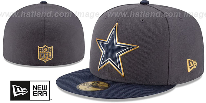 4c5a50bf1f5 Cowboys  2015 NFL GOLD COLLECTION  Grey-Navy Fitted Hat by New Era