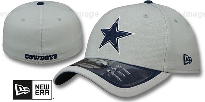 Cowboys '2015 NFL STADIUM FLEX' Grey-Navy Hat by New Era : pictured without stickers that these products are shipped with