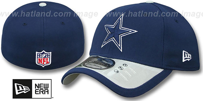 Cowboys '2015 NFL STADIUM FLEX' Navy-Grey Hat by New Era : pictured without stickers that these products are shipped with