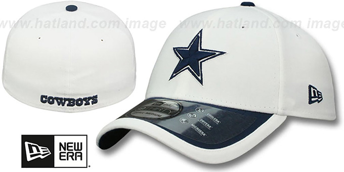Cowboys '2015 NFL STADIUM FLEX' White-Navy Hat by New Era : pictured without stickers that these products are shipped with