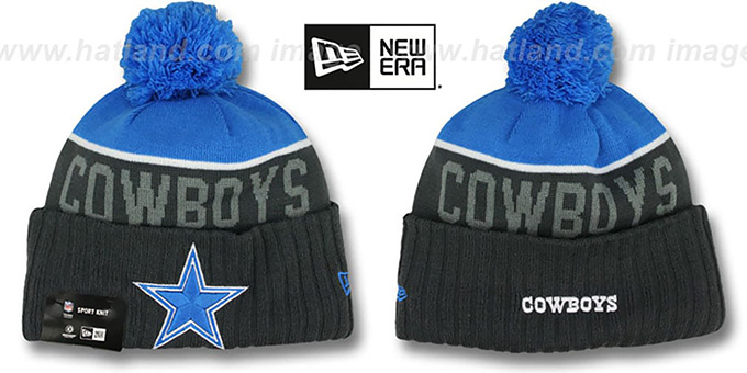 Cowboys '2015 STADIUM' Charcoal-Blue Knit Beanie Hat by New Era : pictured without stickers that these products are shipped with