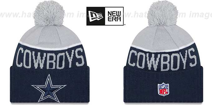 Cowboys '2015 STADIUM' Navy-Grey Knit Beanie Hat by New Era : pictured without stickers that these products are shipped with