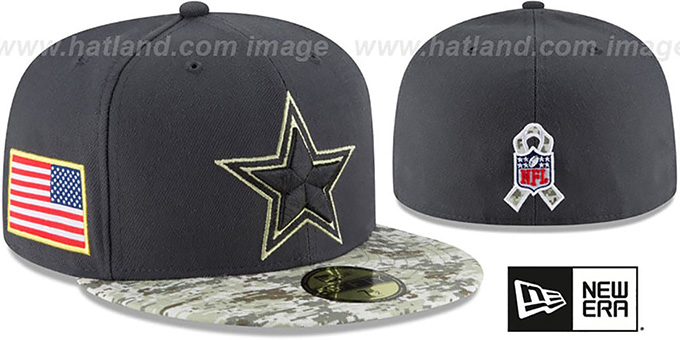 Dallas Cowboys 2016 KIDS SALUTE-TO-SERVICE Grey-Desert Fitted Hat aac2e6eff83