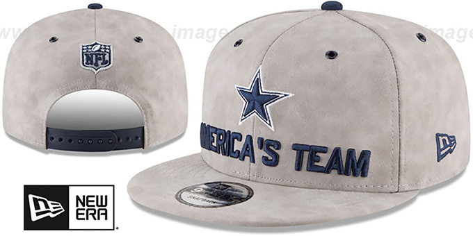 a2741f905 Cowboys  2018 SPOTLIGHT LEATHER SNAPBACK  Grey Hat by New Era