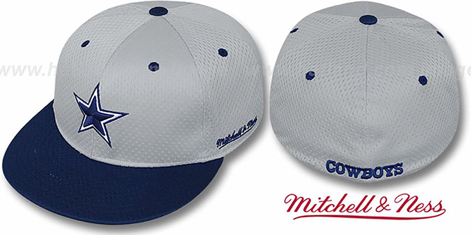 6fa5e002b6f Cowboys 2T BP-MESH Grey-Navy Fitted Hat by Mitchell   Ness