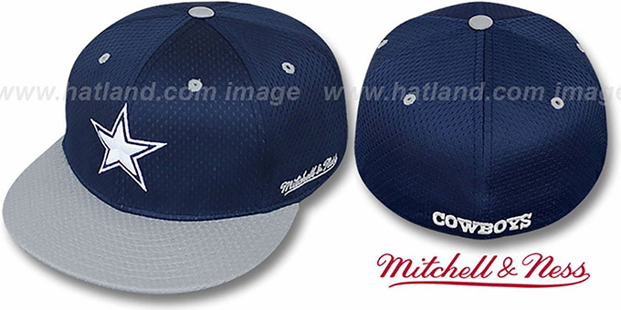 Cowboys '2T BP-MESH' Navy-Grey Fitted Hat by Mitchell & Ness : pictured without stickers that these products are shipped with
